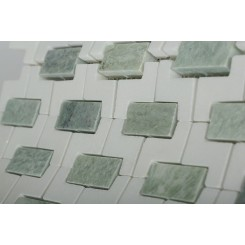 Trelis Ming Green and White Thassos Marble Tile