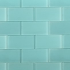 "Loft Turquoise Frosted 3"" X 6"" Glass Tiles"