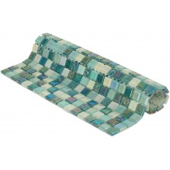 Whimsical Iridescent Teal Glass Tile