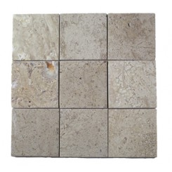 Brushed Stone Travertine 4x4 Marble Tile