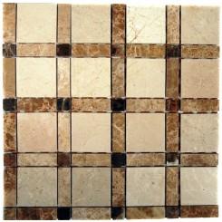 Aperture Pattern Crema Marfil 2x2 Light Emperador Line 1/2x2 Dark Emperador Dot 1/2x1/2 Marble Tile