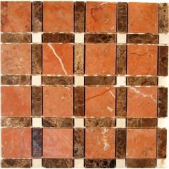Aperture Pattern Rojo Aleconte 2x2 Dark Emperador Line 1/2x2 Crema Marfil Dot 1/2x1/2 Marble Tile