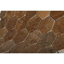 "Wood Onyx 2"" Hexagon Polished Marble Mosaics"