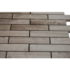 Wooden Beige 3/4 X 4 Big Brick Pattern Marble Mosaic Tiles