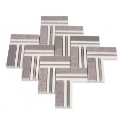 Adagio Lady Gray With Crystal White Line Marble Tile