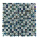 Whimsical Iridescent Teal Glass Tile