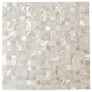 Serene White Squares Groutless Pearl Shell Tile