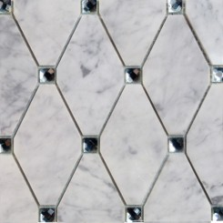 Paradigm Diamond White Carrera and Mirror Marble and Glass Tile