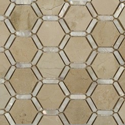 Florentine Pearl Crema Marfil Marble and Pearl Glass Tile