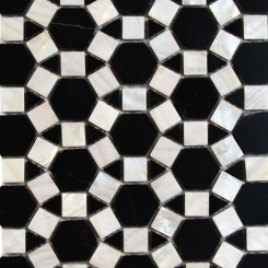 Victoria Hexagon Pearl Nero Marquina Marble and Pearl Shell Glass Tile