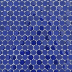 Loft Royal Blue Penny Round Glass Tiles