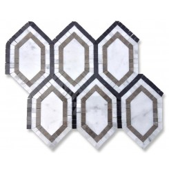 Infinity Carrera Hexagon With Lagos, White Carrera and Black  Marble Tile