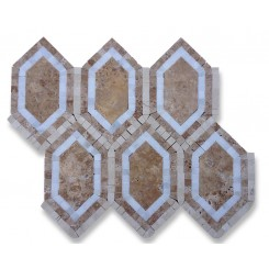 Infinity Noche Hexagon With Asian, Noche and Crema Marfil Marble Tile