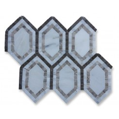 Infinity Asian Hexagon With Temple Gray, Asian and Lagos Marble Tile