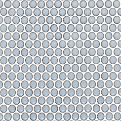 Eden Rimmed Cloudy Sky Penny Round Polished Ceramic Tile