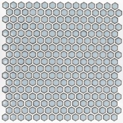 Eden Rimmed Cloudy Sky Hexagon Polished Ceramic Tile