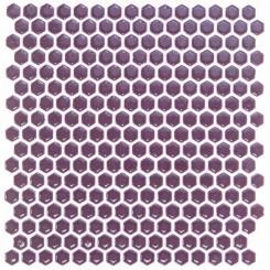 Eden Rimmed Summer Plum Hexagon Polished Ceramic Tile