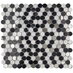 Paradigm Nero Marquina and White Carrara Penny Round Marble and Glass Tile