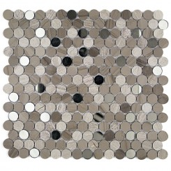 Paradigm Athens Gray and Wooden Beige Penny Round Marble and Glass Tile