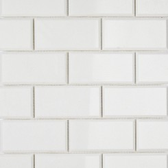 White Thassos 2x4 Beveled Marble Tile