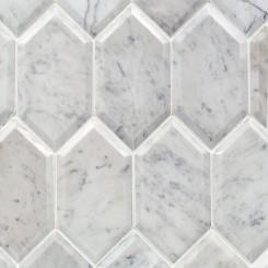 Beveled White Carrara Hexagon Marble Tile