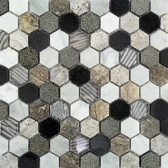 Esker Stratus Hexagon Marble and Glass Tile