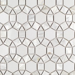 Victoria Pearl White Thassos Marble and Pearl Shell Tile