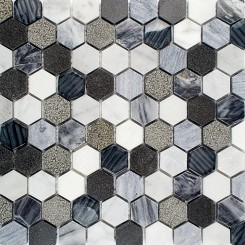 Esker Oxford Gray Hexagon Marble and Glass Tile