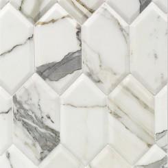 Beveled Calcatta Hexagon Marble Tile