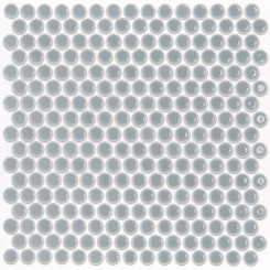 Eden Rimmed Modern Gray Penny Round Polished Ceramic Tile