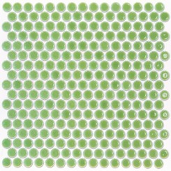 Eden Rimmed Electric Lime Penny Round Polished Ceramic Tile