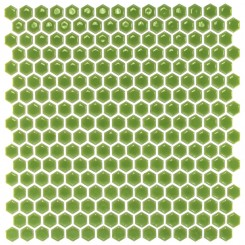 Eden Rimmed Electric Lime Hexagon Polished Ceramic Tile