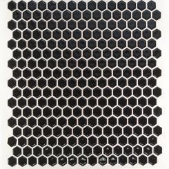 Eden Black Hexagon Polished Ceramic Tile