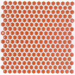 Eden Rimmed Orange Nectar Hexagon Polished Ceramic Tile