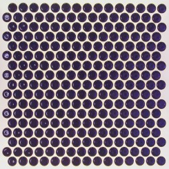 Eden Rimmed Royal Blue Penny Round Polished Ceramic Tile