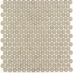 Eden Rimmed Latte Penny Round Polished Ceramic Tile
