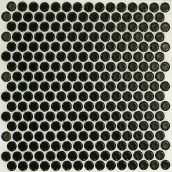 Eden Black Penny Round Polished Ceramic Tile