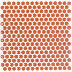 Eden Rimmed Orange Nectar Penny Round Polished Ceramic Tile