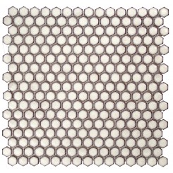 Eden Rimmed Winter White Hexagon Polished Ceramic Tile