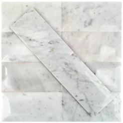 White Carrera Beveled 3x6 Polished Marble Tile