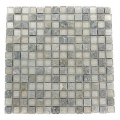 GEOLOGICAL SQUARES GREEN QUARTZ SLATE & WHITE GOLD GLASS TILES 3/4X3/4_MAIN