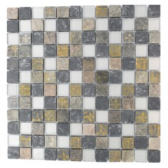 METALLIC ETCHED SILVER BIRCH BLEND 1X1 MARBLE &amp; GLASS TILES_MAIN