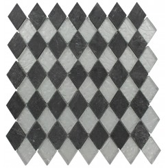 GEOLOGICAL DIAMOND BLACK SLATE &amp; SILVER GLASS TILES 2X3_MAIN