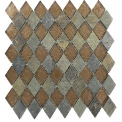 GEOLOGICAL DIAMOND MULTICOLOR SLATE &amp; BRONZE GLASS TILES 2X3_MAIN