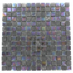 GEOLOGICAL SQUARES BLACK SLATE & RAINBOW BLACK GLASS TILES 3/4X3/4_MAIN