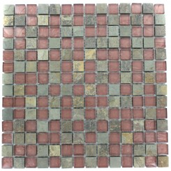 GEOLOGICAL SQUARES MULTICOLOR SLATE & RUST GLASS TILES 3/4X3/4_MAIN