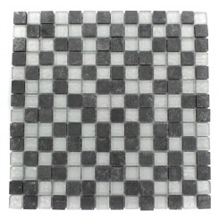 GEOLOGICAL SQUARES BLACK SLATE &amp; SILVER GLASS TILES 3/4X3/4_MAIN