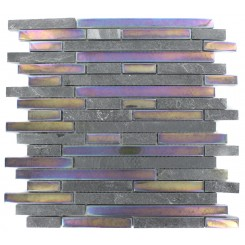 GEOLOGICAL TAO BLACK SLATE  &amp; RAINBOW BLACK GLASS TILES 1/2xRANDOM_MAIN