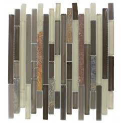 GEOLOGICAL TAO MULTICOLOR SLATE &amp; KHAKI BLEND GLASS TILES 1/2xRANDOM_MAIN