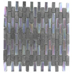 GEOLOGICAL  BRICK BLACK SLATE  & RAINBOW BLACK GLASS TILES 1/2X2_MAIN